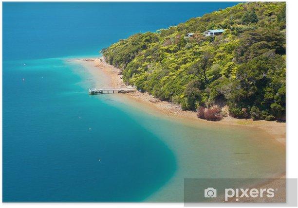 Poster Vert forêt et l'eau bleue - Vacances
