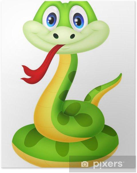 Poster Vert mignon de bande dessinée de serpent - Sticker mural