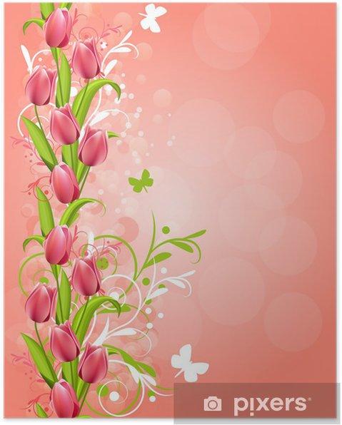 Poster Vertical fond rose de printemps avec les tulipes et s'épanouit - Arrière plans