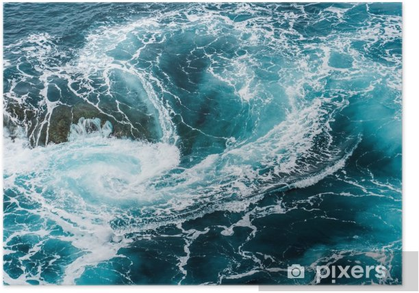vertiginous, swirling foamy water waves at the ocean photographed from above Poster - Landscapes