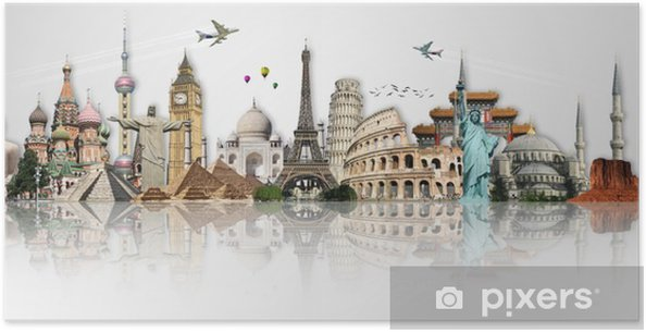 Póster Viaja por el mundo concepto monumentos - Temas