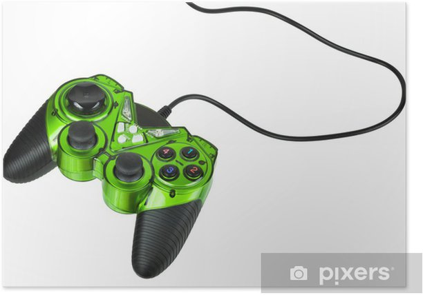 Video game controller with cord, isolated on white Poster - Signs and Symbols