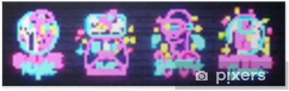Poster Video games emblemen verzameling neon teken vector ontwerpsjabloon. conceptuele vr games, retro game night logo in neon stijl, gamepad in de hand, modern trendontwerp, lichte banner. vectorillustratie - Technologie