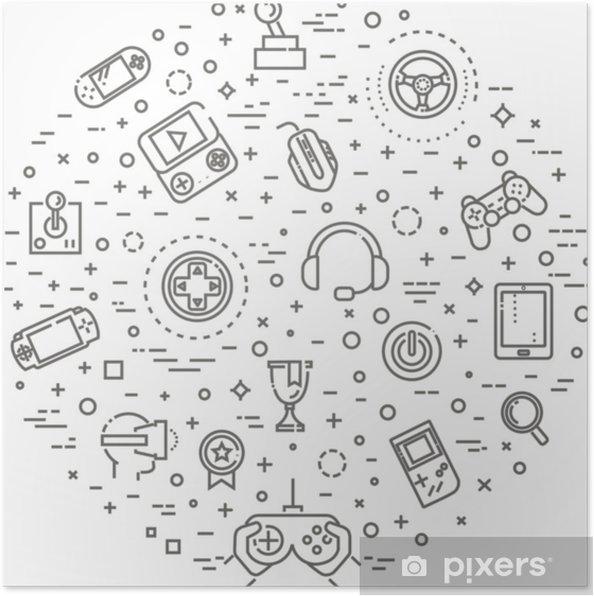 Poster Videospellenpictogrammen, eenvoudig en dun lijnontwerp - Technologie