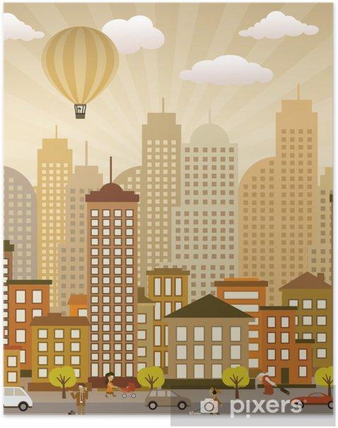 Poster Vie de la ville basse (couleurs rétro) - Art et création
