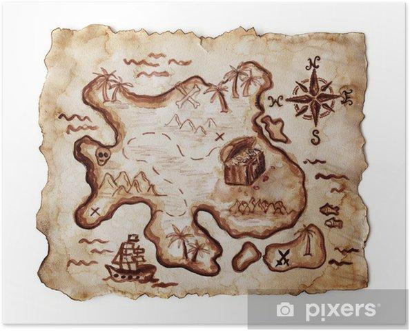 Carte Au Tresor New Bone.Poster Vieille Carte Au Tresor Isole Sur Fond Blanc