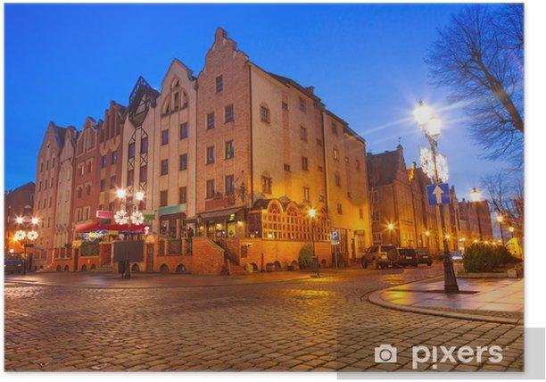 Poster Vieille ville de Elblag la nuit en Pologne - Thèmes