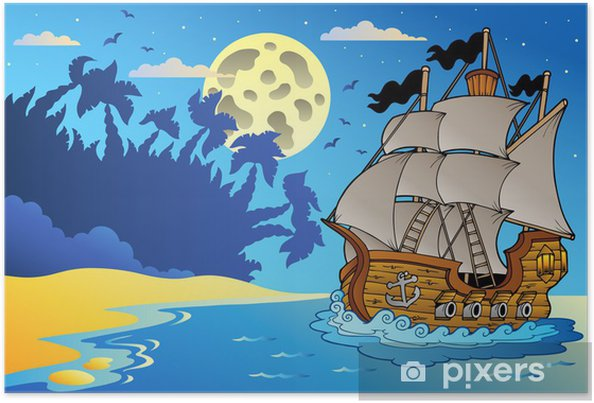 Poster Vieux bateau dans la nuit près de la plage - Destin