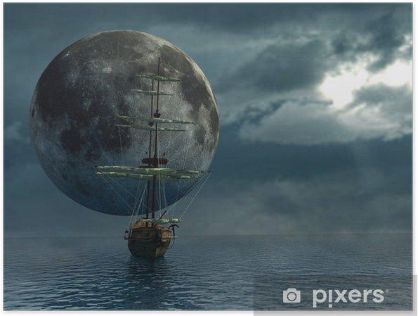Poster Vieux bateau sur l'océan et la lune - Tableau numérique - Thèmes