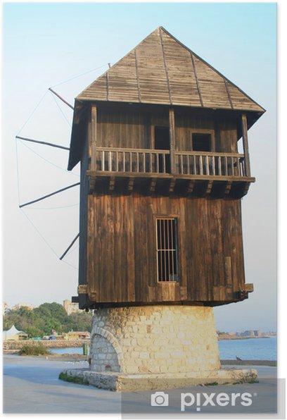 Poster Vieux moulin à vent en bois - Infrastructures