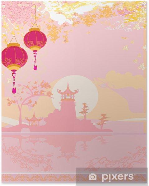 Poster Vieux papier avec le paysage asiatique et lanternes chinoises - Asie