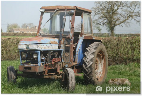Poster Vieux tracteur rouillé dans le champ - Agriculture