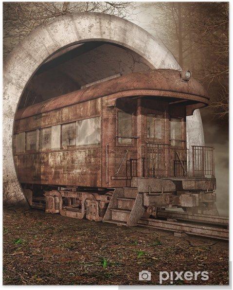 Poster Vieux train dans un tunnel - Saisons
