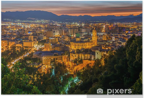 View over Malaga City at night, Andalusia, Spain Poster - Themes