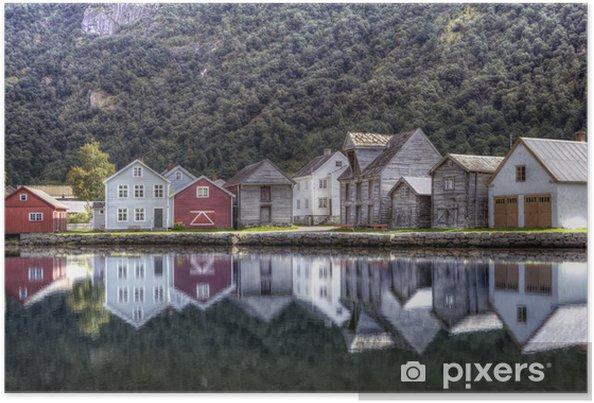 Poster Village traditionnel norvégien - Europe