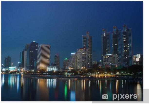 Poster Ville de Bangkok dans la nuit avec la réflexion de l'horizon - Asie