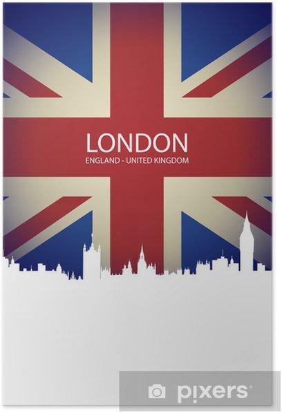 Poster Ville de Londres sur Royaume-Uni Drapeau - Villes européennes