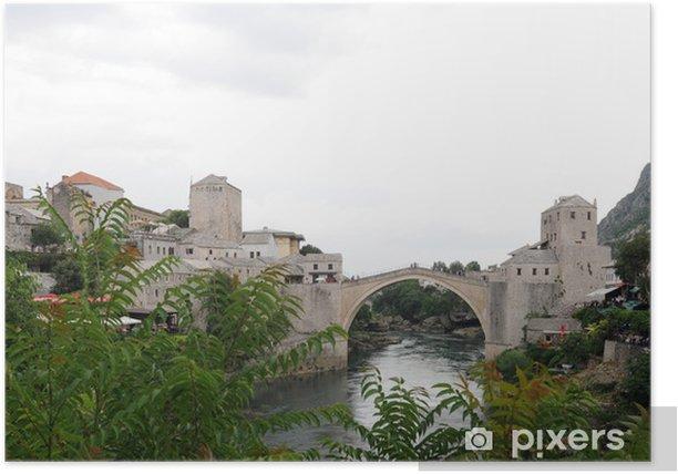 Poster Ville de Mostar en Herzégovine - Vieux pont - Europe