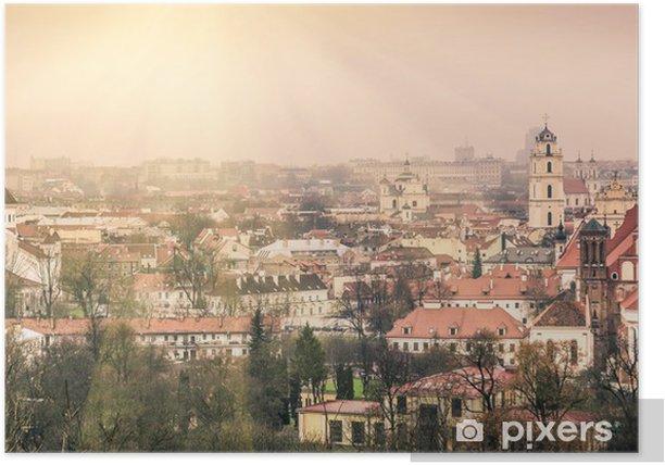 Poster Vilnius vieille ville - Vue aérienne de la capitale de la Lituanie - Europe