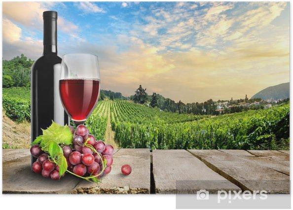 Poster Vin avec du raisin et de la vigne - Thèmes
