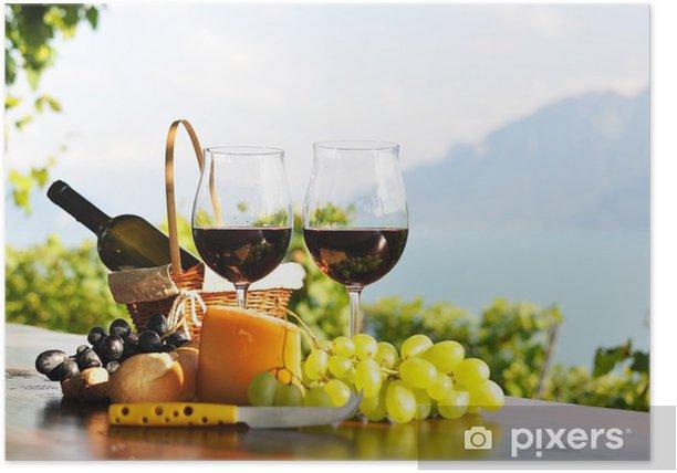 Poster Vin rouge, raisins et fromage. Lavaux region, Suisse - Thèmes