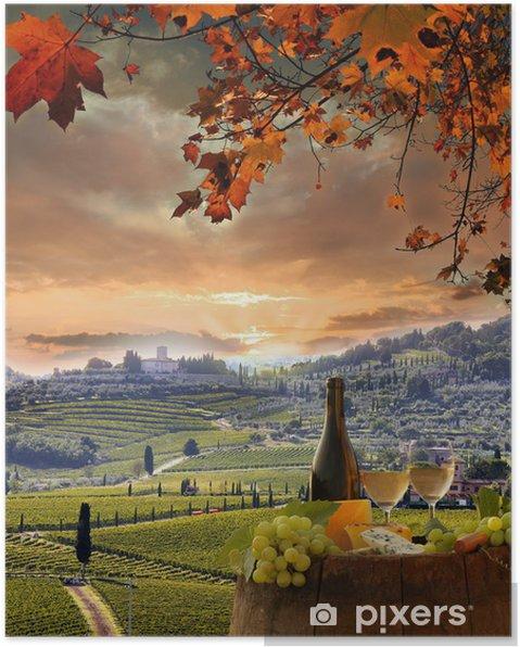 Póster Vino blanco con barell en el viñedo, Chianti, Toscana, Italia - Europa