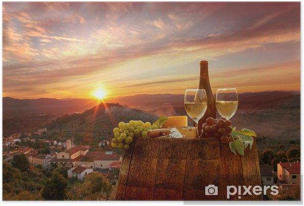 Póster Vino blanco con barell en el viñedo, Chianti, Toscana, Italia - Temas