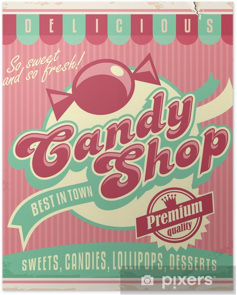 Poster Vintage affischmall för godis butik - Stilar