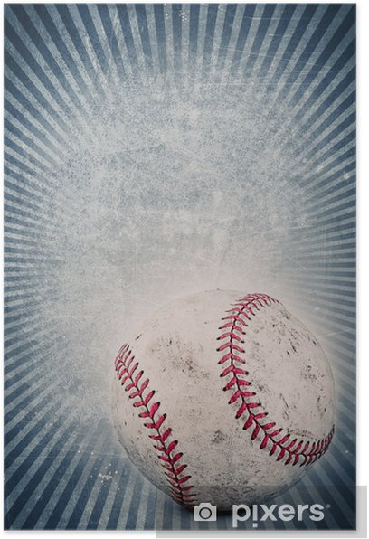 Vintage Baseball And Blue Background Poster Pixers We Live To Change