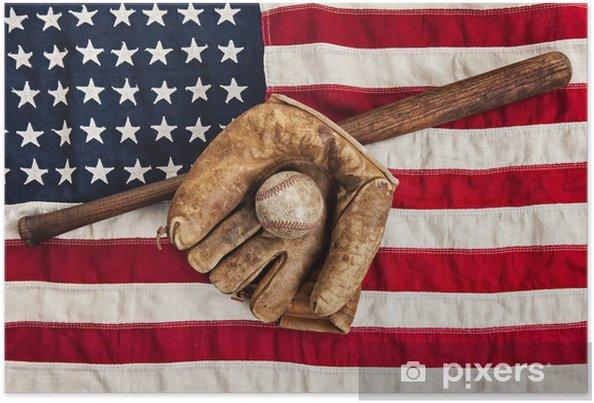 Poster Vintage baseball, slagträ och handske på amerikanska flaggan - Sportartiklar