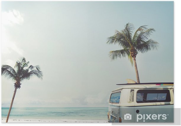 Vintage car parked on the tropical beach (seaside) with a surfboard on the roof - Leisure trip in the summer Poster - Hobbies and Leisure