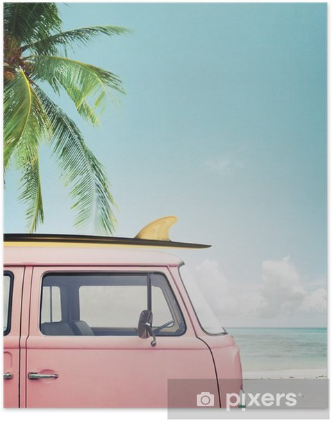 Vintage car parked on the tropical beach (seaside) with a surfboard on the roof Poster - Hobbies and Leisure