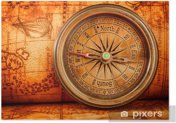 Vintage compass lies on an ancient world map. Poster