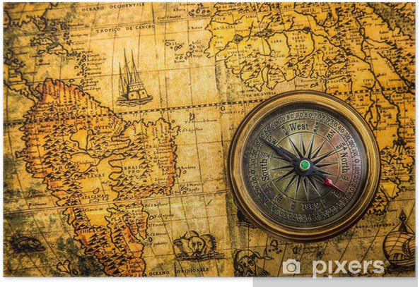 Vintage compass lies on an ancient world map Poster