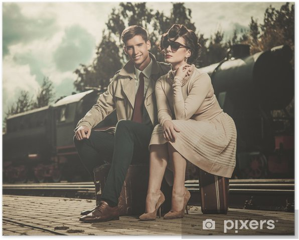 Vintage couple on train station platform Poster - Accesories and Objects