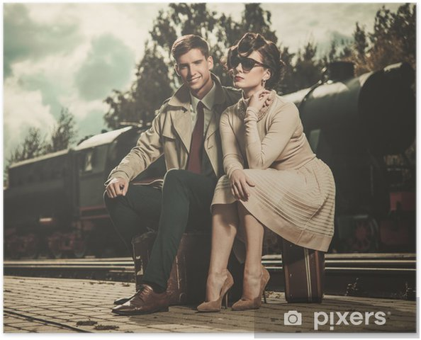 Poster Vintage couple sur le train quai de la gare - Objets et accessoires