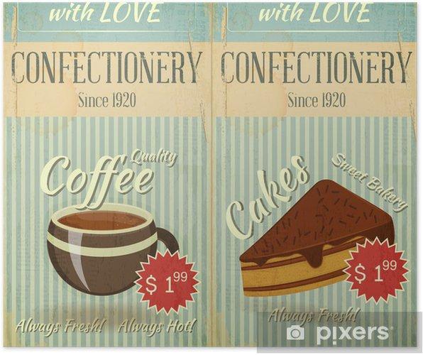 Poster Vintage deux cartes Café confiserie carte des desserts - Repas