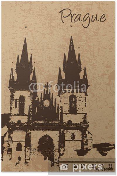 Poster Vintage Eglise de Notre-Dame-du-Tyn à Prague carte - Bâtiments publics