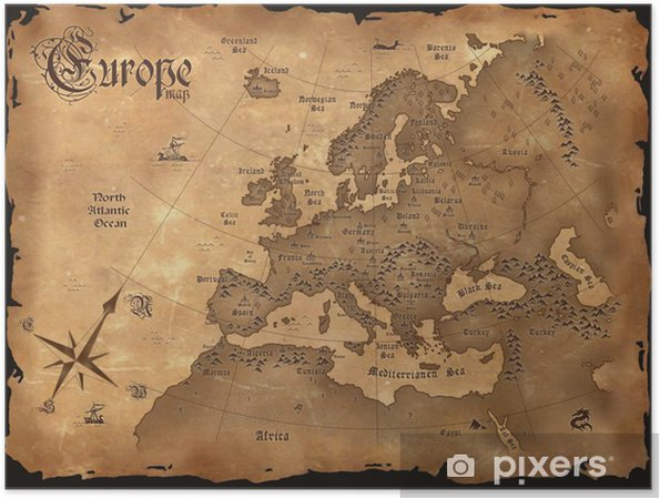 Poster Vintage Europa karta horisontal - Teman