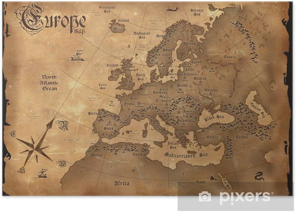 Vintage Europe map horizontal Poster - Themes