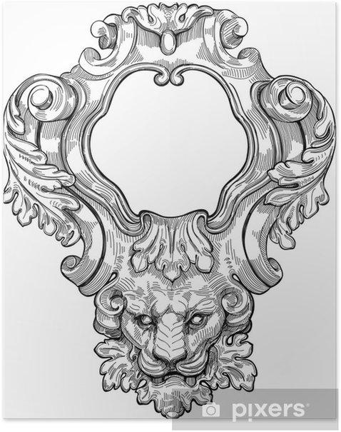 Vintage frame & lion head. Vector illustration Poster - Art and Creation