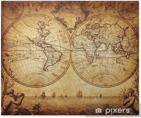 Poster Vintage kaart van de wereld 1733 - Thema's