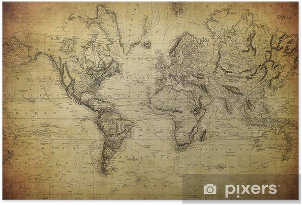 Poster Vintage kaart van de wereld 1814 .. - Thema's