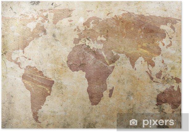 Poster Vintage kaart van de wereld -