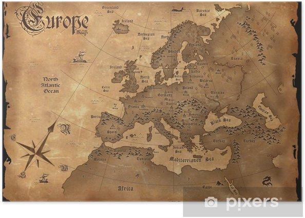 Poster Vintage kaart van Europa horizontale - Thema's