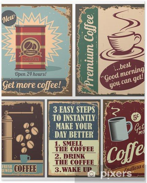 Poster Vintage kaffe affischer och metallskyltar - Till köket
