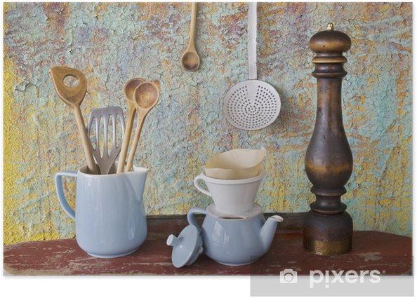 Vintage Kitchen Utensils Spatulas Coffee Pot Skimmer Filter