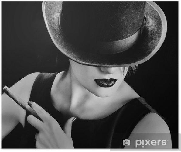 Poster Vintage kvinna med en hatt och cigarr • Pixers® - Vi lever ... 343a68fbeccf0