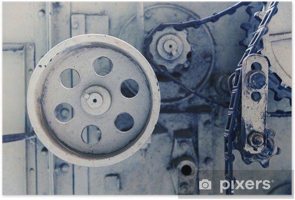 Poster Vintage machine mechanisme bij fabriek - Industrie