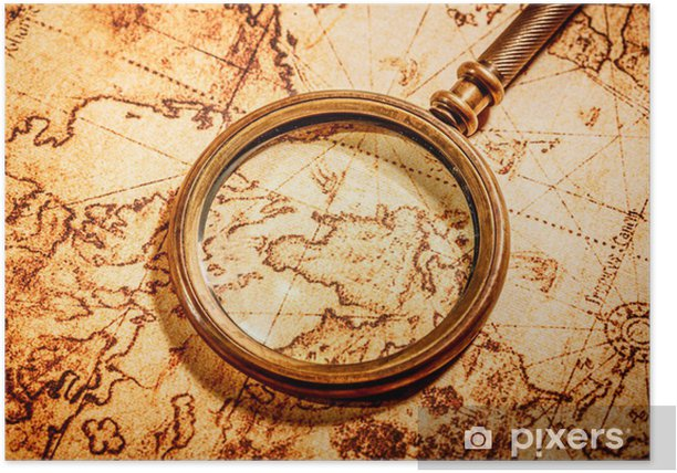 Vintage magnifying glass lies on an ancient world map Poster